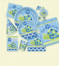 BOYS FIRST BIRTHDAY BLUE TURTLE CUPS PLATES NAPKINS FAVOURS 1ST PARTY 1 YEAR