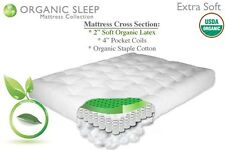"THE FUTON SHOP 9"" NATURAL PLUS ORGANIC COTTON/COIL/LATEX MATTRESS CHOOSE SIZE"