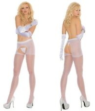 CROTCHLESS SHEER Pantyhose EM WHITE O/S & PLUS
