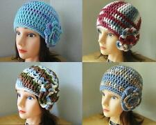 PINK Green BLUE White HANDMADE Crochet CLOCHE Beanie HATs with Rose PiNs Knit