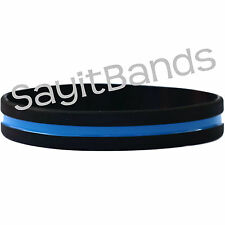 100 Thin Blue Line Wristband Bracelets for Police Officers Patrol Support Cops