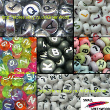 (U Pick) 600 Pcs. 4 x 7mm Mixed & Individual Alphabet Letter Coin Acrylic Beads
