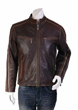 BRAND NEW vintage fitted biker LEATHER jacket Brown RETRO zip up Hip Lenght A2