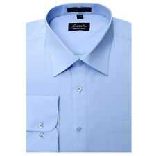 Mens Dress Shirt Plain Light Blue Modern Fit Wrinkle-Free Cotton Blend Amanti