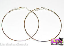 Large Hoop Silver Earrings Basketball Wives Poparazzi Round Circle Party Girl UK