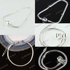 WHOLESALE LOTS DIFFERENT SIZE SILVER/PLATINUM FINDINGS EUROPEAN CHARM BRACELETS