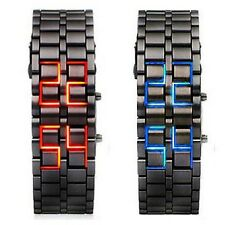 Lava Iron Samurai LED Digital Faceless Metal Bracelet Unisex Wrist Watch Gifts p