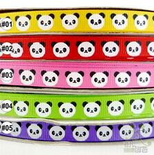 "3/8""9mm yellow/red/pink/green/purple black white panda grosgrain ribbon 5 yards"