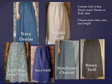 Girl long full skirt denim blue jean modest custom khaki Brown pick size & color