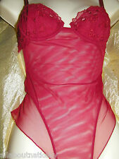 NAORY  LINGERIE BODYSUIT Size: ITALIAN 1 /32 *RED *FREE SAME DAY SHIPPING*