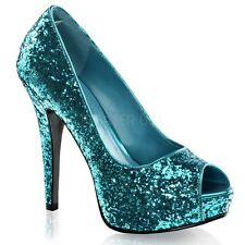 PLEASER Turquoise Blue Glitter Peep Toe Mini Platform High Heels Party Club Shoe