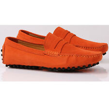 Suede Leather SLIP-ON Casual penny Loafer Orange mens driving shoes JG [JG]