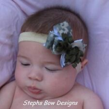 ARMY DIGITAL CAMO CAMOFLAUGE DAINTY LAYERED KORKER HAIR BOW HEADBAND or CLIP