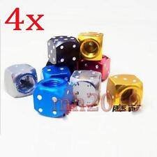 4x NEW Metal Dice Bike Car Motorcycle ATV Tyre Tire Wheel Valve Dust Caps Covers