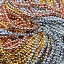 100pcs 3mm PRECIOUS METAL PLATED DRUK/ROUND GLASS BEADS - SELECT THE COLOR