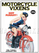 MOTORCYCLE VIXENS Art Photo Print Pinup Poster HARLEY DAVIDSON PULP PIN UP GIRL