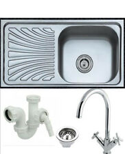 Single Bowl Stainless Steel Kitchen Sink With Plumbing Kit - Choice of Taps