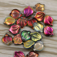 PICK YOUR COLOR** 20pcs 12X15mm FANCY WAVY  LEAVES BEADS - RARE FIND