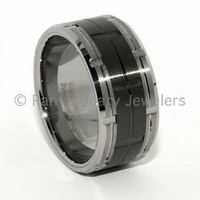 Tungsten Carbide Ring Wedding Band 12MM Natural w Black Ceramic  Brushed/Notched