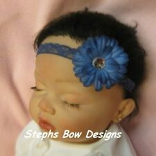 LIGHT NAVY BLUE DAISY FLOWER BLING DAINTY HAIR BOW LACE HEADBAND BABY NEWBORN