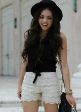 sh20 CFLB Ladies Vintage White Black High Waisted Lace Crochet Shorts Hotpants