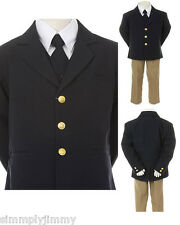 Baby Boy & Kids Formal Tuxedo Vest Suit Set 5Pcs Size L 2T- 5 6 7 8 10 12 14 16