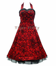 H&R LONDON 50's DRESS LONG TATTOO FLOCK RED UK Size 8-18