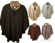 LADIES PLUS SIZE LEOPARD COWL NECK TIE KNOT WRAP JUMPER PONCHOS WINTER CAPE16-26