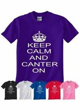 Keep Calm and Canter On Horse Riding Pony Boys Girls Kids T-Shirt Age 1-13