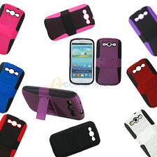 Soft & Hard Silicone Net Stand Case Cover Skin for SamSung Galaxy i9300 SIII S3