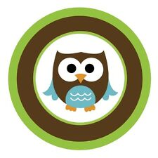 Baby Owls {Brown & Green} Edible ROUND Cake Topper Decoration