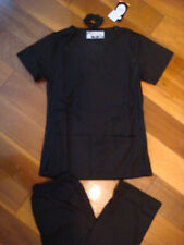 Fior Stretch Stylish Nursing Medical Scrubs Set Black sd Spandex XS S M L XL 2XL