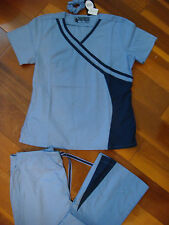 Rockhopper New Style Nursing Uniform Scrub Set Top Pant Ceil Blue with Navy Trim