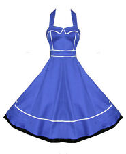 H & R london dress Blue Halter Swing 1950's pinup Vintage Jive Sailor 6851