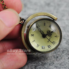 Steampunk Vintage Glass Ball Quartz Bronzes Pocket Watch Pendant Necklace Chain