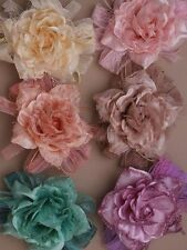 LADIES CORSAGE FLOWER HAIR CLIPS GRIPS SLIDES 9351 lace WEDDING PROM FASCINATOR