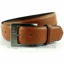 """New Quality MENS Antique Brown REAL LEATHER BELT 1.5"""" Wide by MILANO 28 to 48"""