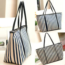 Fashion Ladies HOLLYWOOD Super Star Womens Stripes Tote Boston Hobo Bag Handbag