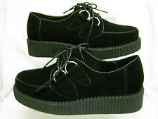 Ladies Spot On Black Faux Suede Creeper Style Lace Up Platform Shoes F9613