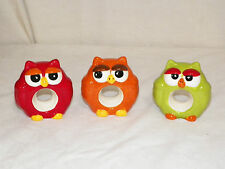NEW BIG EYED OWL CERAMIC NAPKIN RING RINGS HOLDERS 3 COLORS AVAILABLE ADORABLE