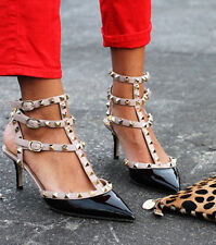 fl(h)5 Celebrity Style Ankle T-strap Studded Pointy Toe Heel or Flat Sandals