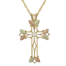 BLACK HILLS GOLD CROSS 2.5MM BIRTHSTONE FAMILY PENDANT NECKLACE CHOOSE UP TO 7