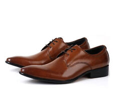 Leather lace up oxford plian toe pointy Men Dress Boots formal Shoes [JG]
