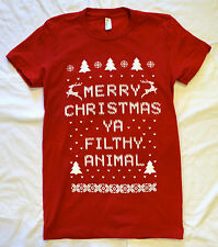 RED womens ugly christmas sweater t shirt reindeer holiday contest winner COOL