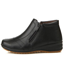 New Womens Dress Casual Winter Snow Warm Ankle Zip Boots Shoes Black