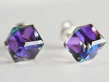 Genuine SWAROVSKI Crystal Stud EARRINGS  - CUBE 6mm 8mm 925 STERLING SILVER