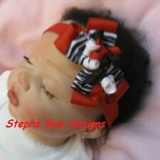 RED BLACK WHITE ZEBRA DAINTY Layered Korker Hair Bow Headband Infant Newborn