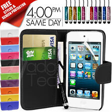 FLIP WALLET LEATHER CASE COVER FITS APPLE IPOD TOUCH 5TH GEN FREE SCREEN GUARD