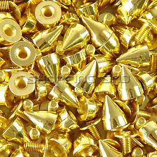 DIY 9mm Gold Cone Screw Metal Studs Leathercraft Rivet Bullet Spikes Punk Spots