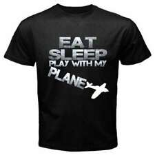 EAT SLEEP RC PLANE model airplane kit Gas powered engine hobby Black T-SHIRT R33